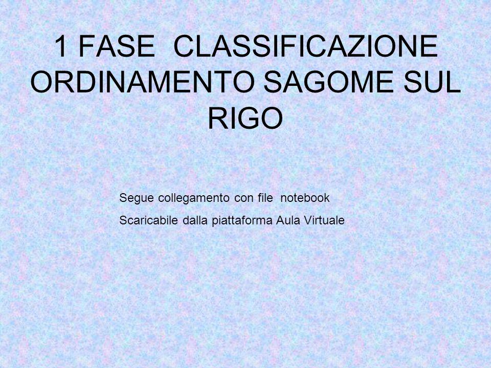 2 FASE CLASSIFICAZIONE ACCOPPIAMENTO VOCALE- SAGOMA Segue collegamento con file notebook Scaricabile dalla piattaforma Aula Virtuale