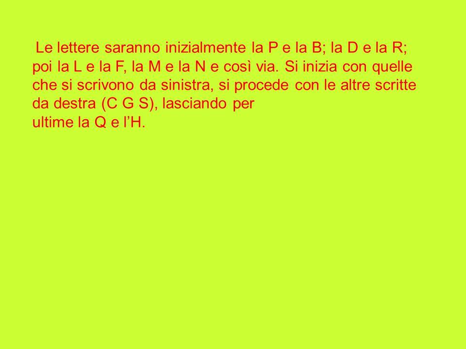 Le lettere saranno inizialmente la P e la B; la D e la R; poi la L e la F, la M e la N e così via. Si inizia con quelle che si scrivono da sinistra, s