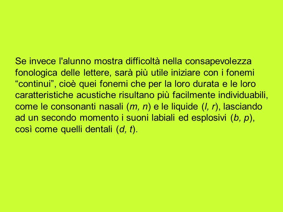 Se invece l'alunno mostra difficoltà nella consapevolezza fonologica delle lettere, sarà più utile iniziare con i fonemi continui, cioè quei fonemi ch