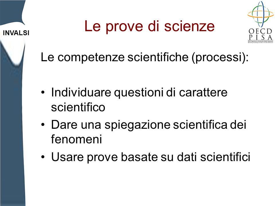 INVALSI Le prove di scienze Le competenze scientifiche (processi): Individuare questioni di carattere scientifico Dare una spiegazione scientifica dei