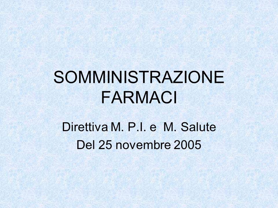 SOMMINISTRAZIONE FARMACI Direttiva M. P.I. e M. Salute Del 25 novembre 2005