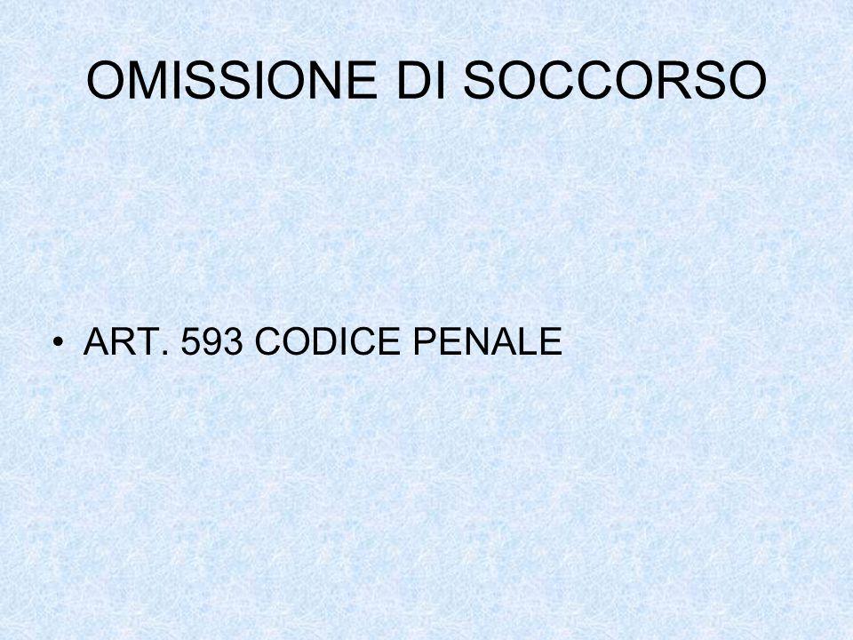 OMISSIONE DI SOCCORSO ART. 593 CODICE PENALE
