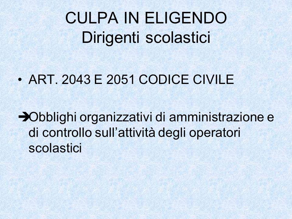CULPA IN ELIGENDO Dirigenti scolastici ART. 2043 E 2051 CODICE CIVILE Obblighi organizzativi di amministrazione e di controllo sullattività degli oper