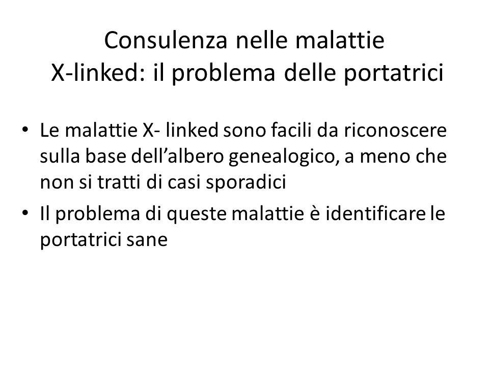 Consulenza nelle malattie X-linked: il problema delle portatrici Le malattie X- linked sono facili da riconoscere sulla base dellalbero genealogico, a