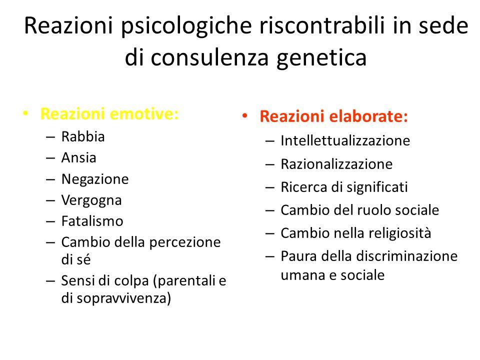 Reazioni psicologiche riscontrabili in sede di consulenza genetica Reazioni emotive: – Rabbia – Ansia – Negazione – Vergogna – Fatalismo – Cambio dell