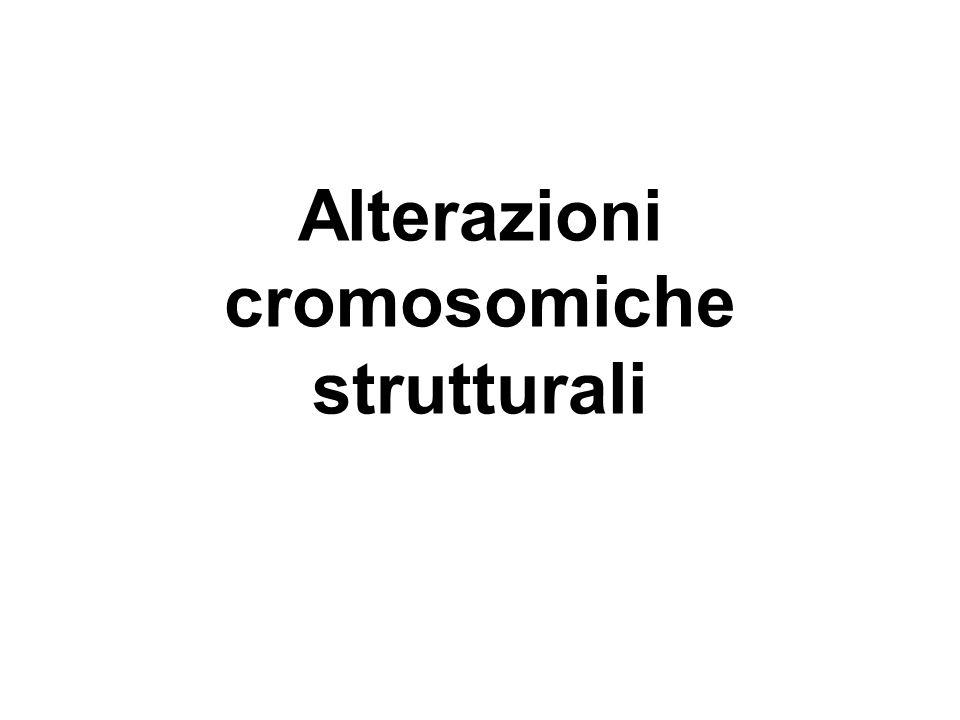 Delezione Rottura terminale o interstiziale di un cromosoma con perdita di un frammento Il fenotipo dipende da quanti e quali geni sono stati persi Da: Dagna Bricarelli et al., Filo Diretto con le Malattie Genetiche, UTET