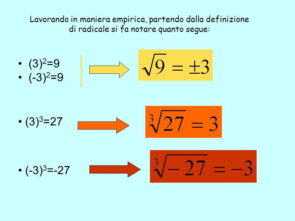 Lavorando in maniera empirica, partendo dalla definizione di radicale si fa notare quanto segue: (3) 2 =9 (-3) 2 =9 (3) 3 =27 (-3) 3 =-27