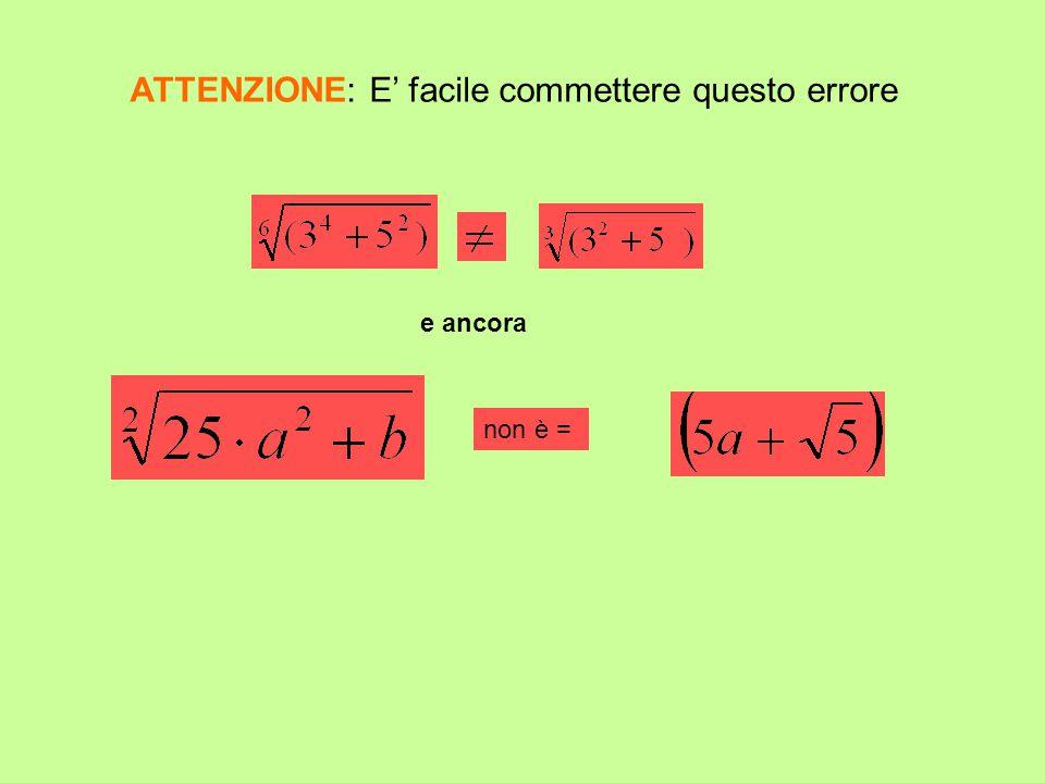 ATTENZIONE: E facile commettere questo errore e ancora non è =