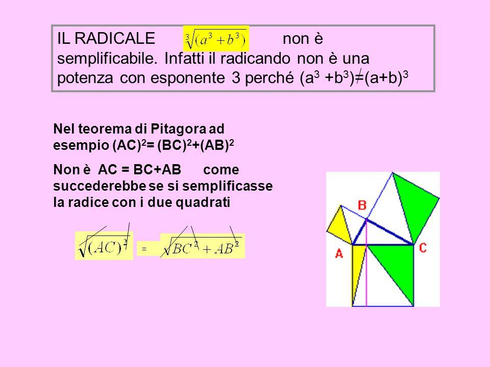 IL RADICALE non è semplificabile. Infatti il radicando non è una potenza con esponente 3 perché (a 3 +b 3 )=(a+b) 3 Nel teorema di Pitagora ad esempio