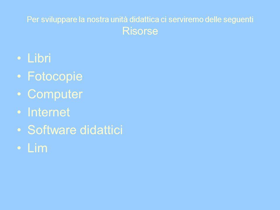Per sviluppare la nostra unità didattica ci serviremo delle seguenti Risorse Libri Fotocopie Computer Internet Software didattici Lim