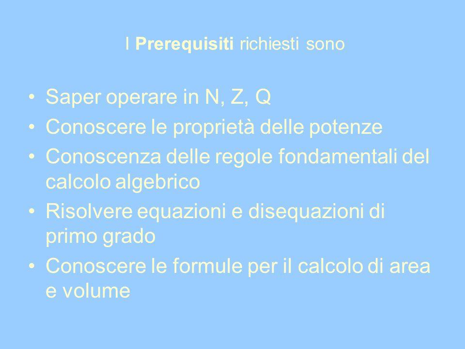 I Prerequisiti richiesti sono Saper operare in N, Z, Q Conoscere le proprietà delle potenze Conoscenza delle regole fondamentali del calcolo algebrico