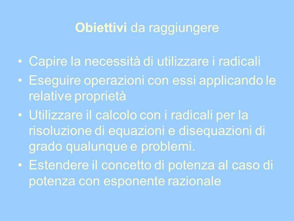 Obiettivi da raggiungere Capire la necessità di utilizzare i radicali Eseguire operazioni con essi applicando le relative proprietà Utilizzare il calc