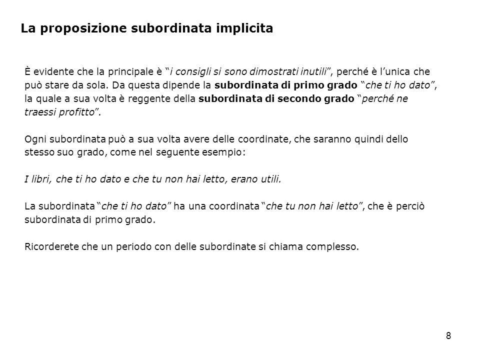 8 La proposizione subordinata implicita È evidente che la principale è i consigli si sono dimostrati inutili, perché è lunica che può stare da sola.