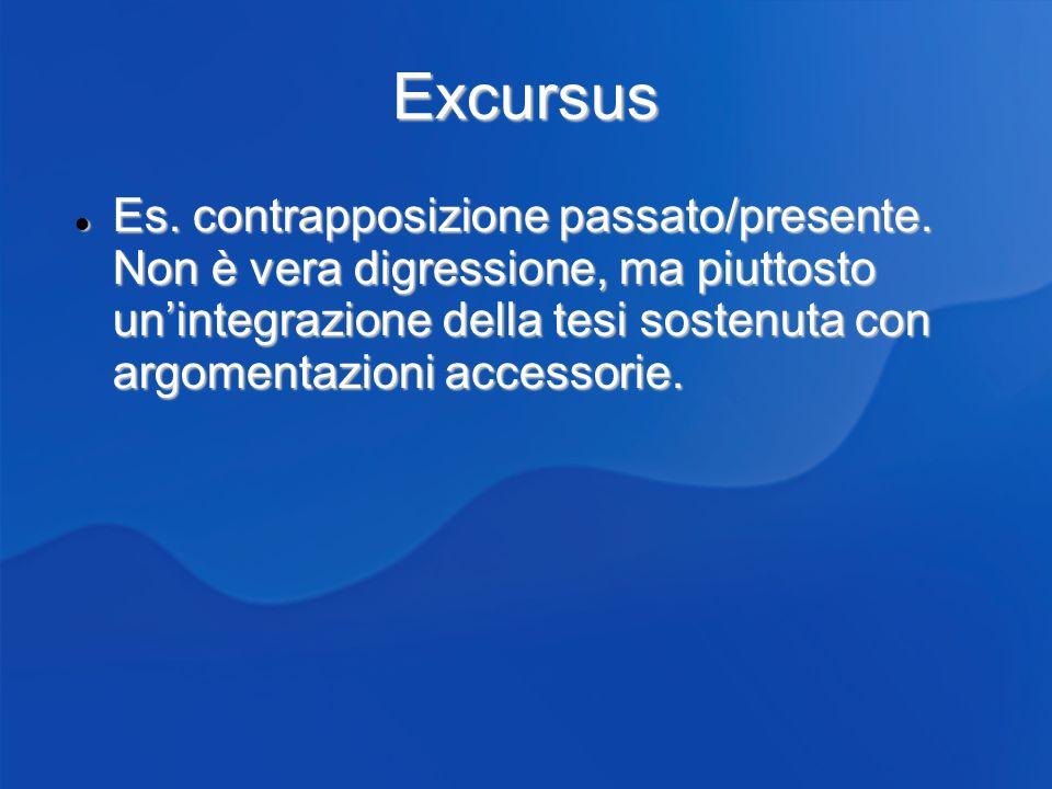 Excursus Es. contrapposizione passato/presente. Non è vera digressione, ma piuttosto unintegrazione della tesi sostenuta con argomentazioni accessorie