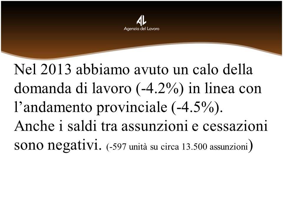Nel 2013 abbiamo avuto un calo della domanda di lavoro (-4.2%) in linea con landamento provinciale (-4.5%). Anche i saldi tra assunzioni e cessazioni