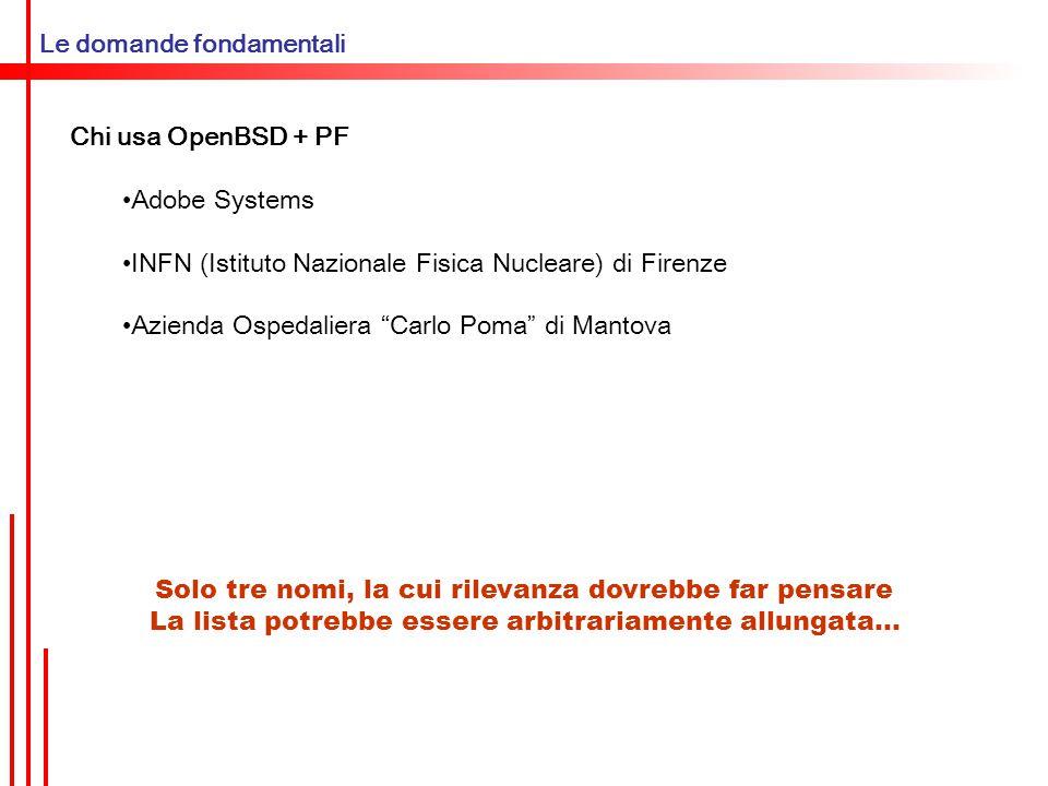 PF – questo sconosciuto Dove risiede PF PF è un pacchetto integrato nel Kernel di OpenBSD, A partire dalla versione 3.0 in poi.