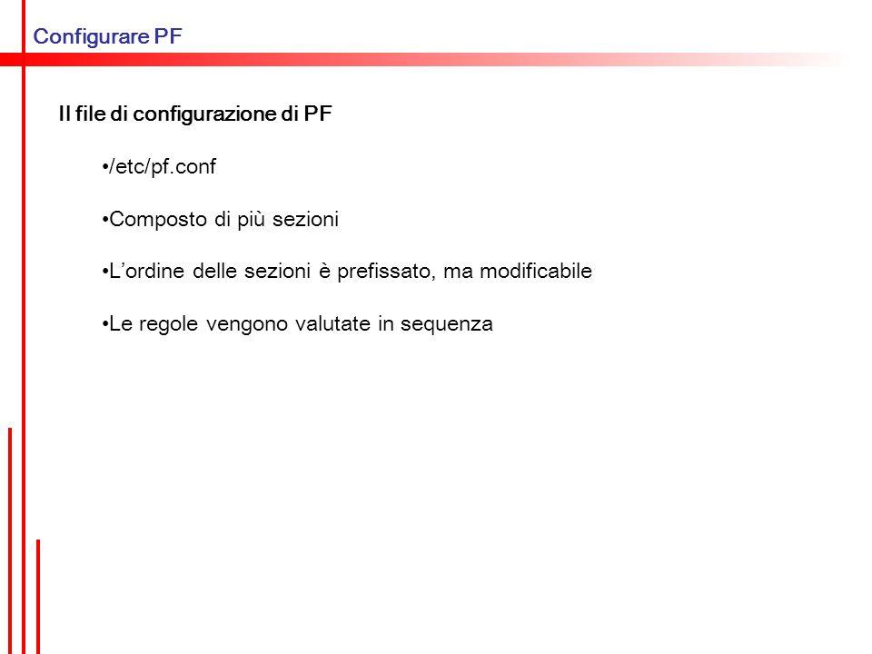 Configurare PF Le sezioni di pf.conf 1.macro 2.tabelle 3.opzioni 4.regole di scrub 5.regole di queuing 6.regole di redirezione/NAT 7.regole di filtraggio