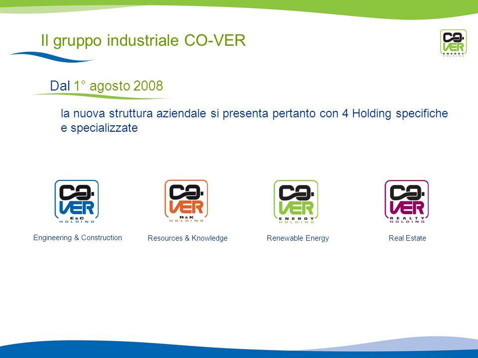 Il gruppo industriale CO-VER Dal 1° agosto 2008 la nuova struttura aziendale si presenta pertanto con 4 Holding specifiche e specializzate Engineering & Construction Resources & KnowledgeRenewable EnergyReal Estate