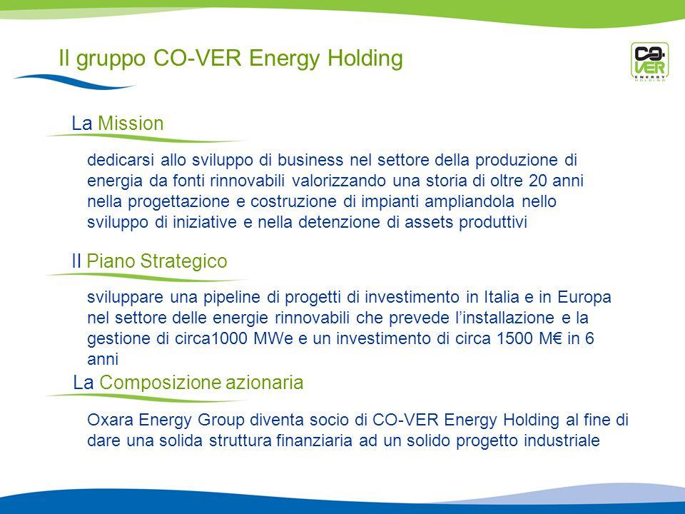 Il gruppo CO-VER Energy Holding La Mission dedicarsi allo sviluppo di business nel settore della produzione di energia da fonti rinnovabili valorizzando una storia di oltre 20 anni nella progettazione e costruzione di impianti ampliandola nello sviluppo di iniziative e nella detenzione di assets produttivi Il Piano Strategico sviluppare una pipeline di progetti di investimento in Italia e in Europa nel settore delle energie rinnovabili che prevede linstallazione e la gestione di circa1000 MWe e un investimento di circa 1500 M in 6 anni La Composizione azionaria Oxara Energy Group diventa socio di CO-VER Energy Holding al fine di dare una solida struttura finanziaria ad un solido progetto industriale