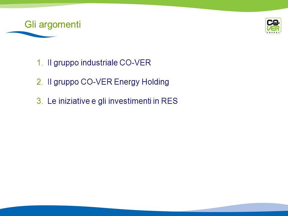 Gli argomenti 1.Il gruppo industriale CO-VER 2.Il gruppo CO-VER Energy Holding 3.Le iniziative e gli investimenti in RES