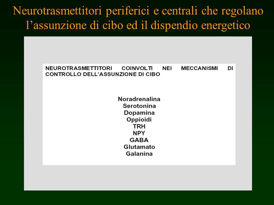 Neurotrasmettitori periferici e centrali che regolano lassunzione di cibo ed il dispendio energetico