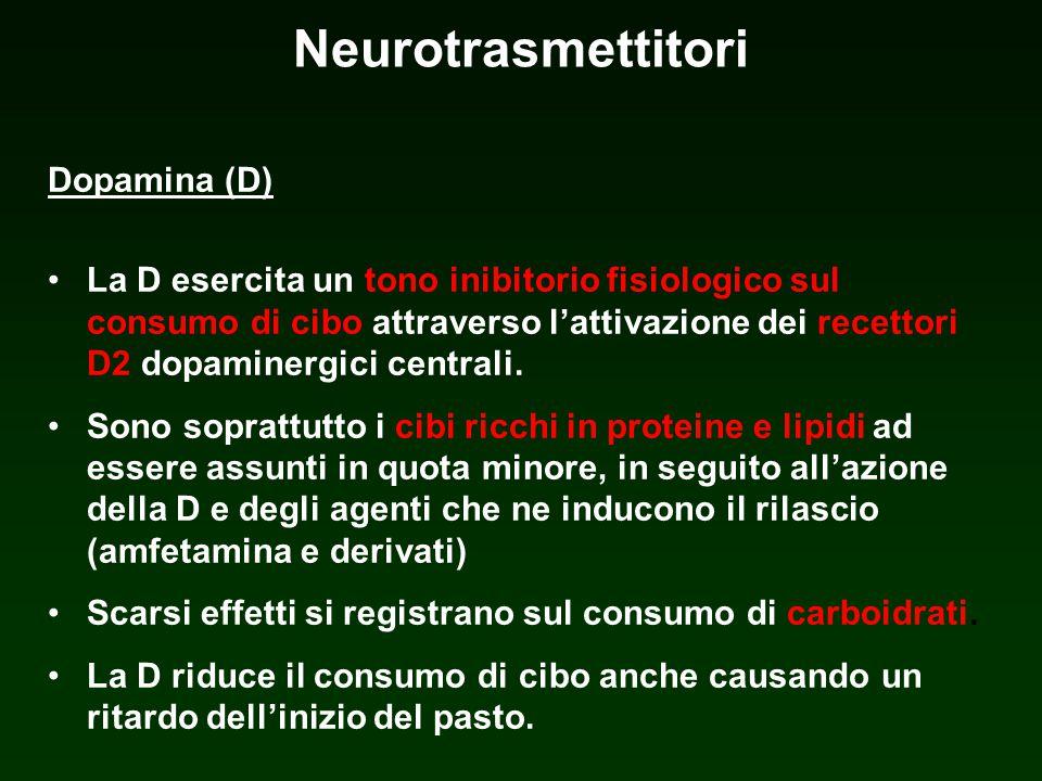 Neurotrasmettitori Dopamina (D) La D esercita un tono inibitorio fisiologico sul consumo di cibo attraverso lattivazione dei recettori D2 dopaminergic