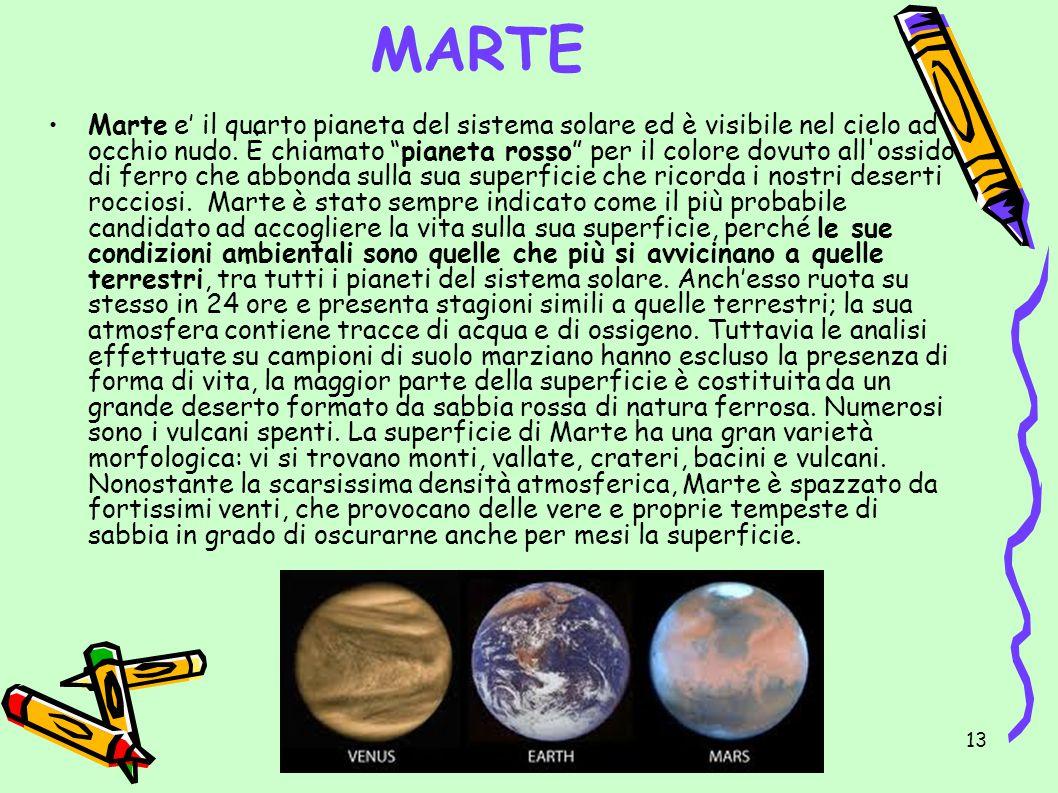 IL SISTEMA SOLARE di Emma Turetta 13 MARTE Marte e il quarto pianeta del sistema solare ed è visibile nel cielo ad occhio nudo. È chiamato pianeta ros