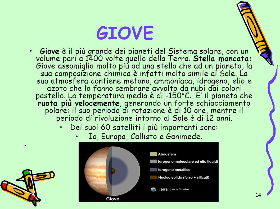 IL SISTEMA SOLARE di Emma14 GIOVE Giove è il più grande dei pianeti del Sistema solare, con un volume pari a 1400 volte quello della Terra. Stella man