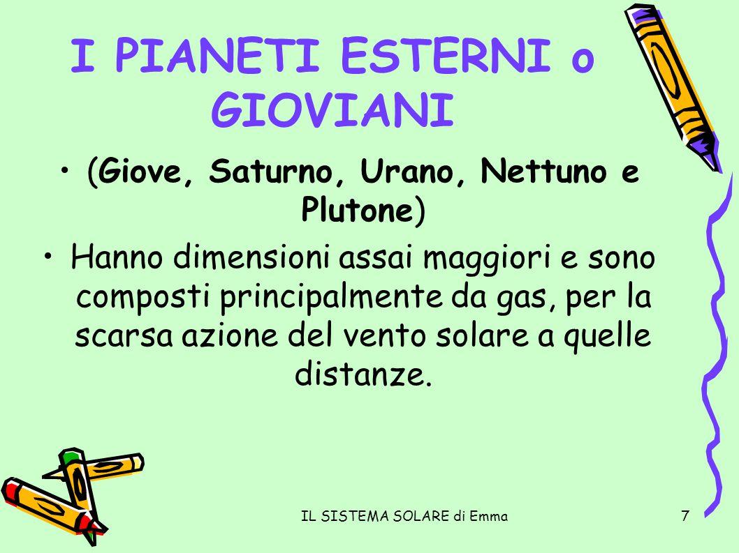IL SISTEMA SOLARE di Emma7 I PIANETI ESTERNI o GIOVIANI (Giove, Saturno, Urano, Nettuno e Plutone) Hanno dimensioni assai maggiori e sono composti pri