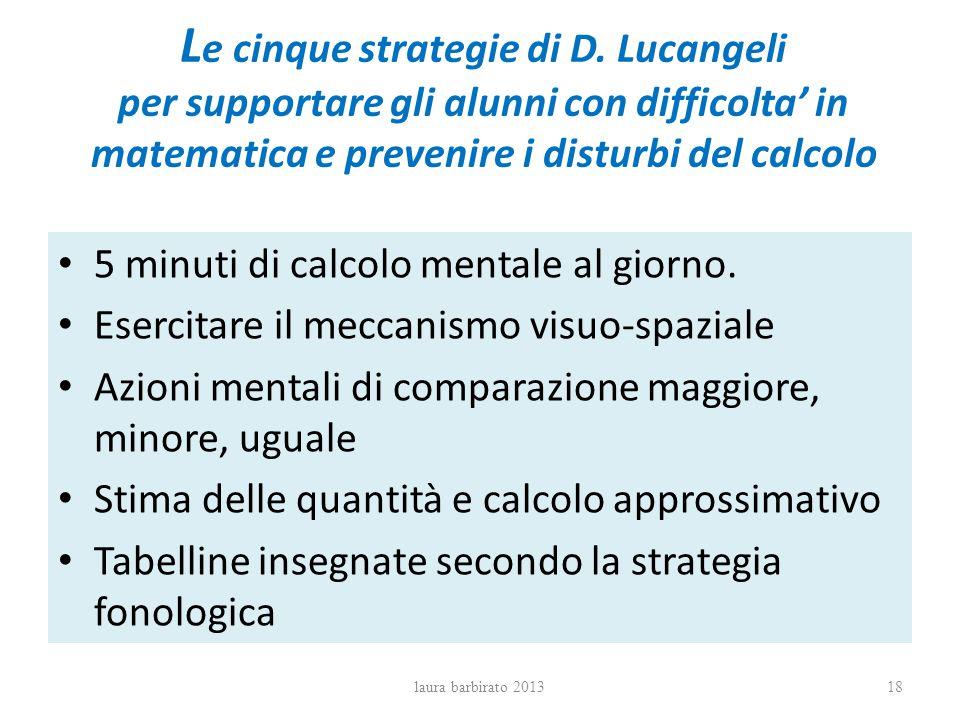 L e cinque strategie di D. Lucangeli per supportare gli alunni con difficolta in matematica e prevenire i disturbi del calcolo 5 minuti di calcolo men