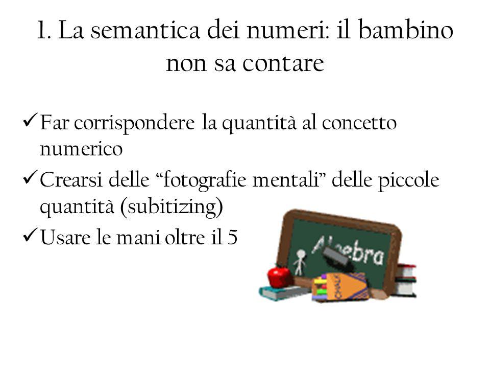 1. La semantica dei numeri: il bambino non sa contare Far corrispondere la quantità al concetto numerico Crearsi delle fotografie mentali delle piccol