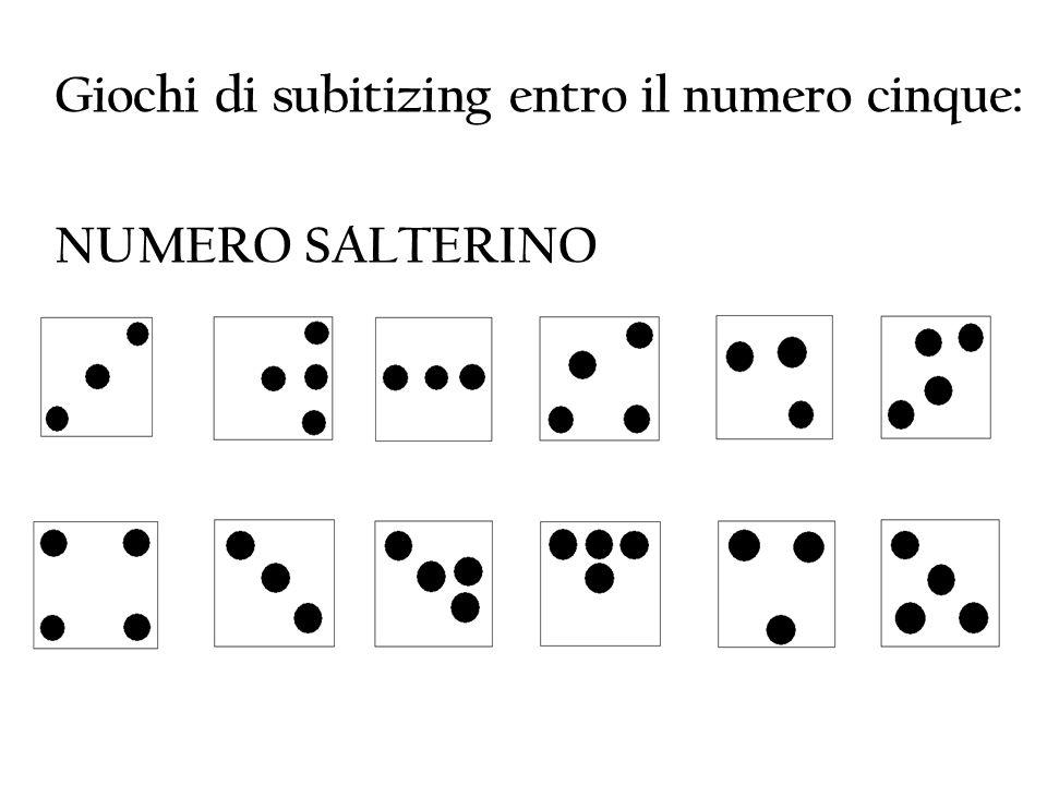 Giochi di subitizing entro il numero cinque: NUMERO SALTERINO DOMINO DEI DOTS