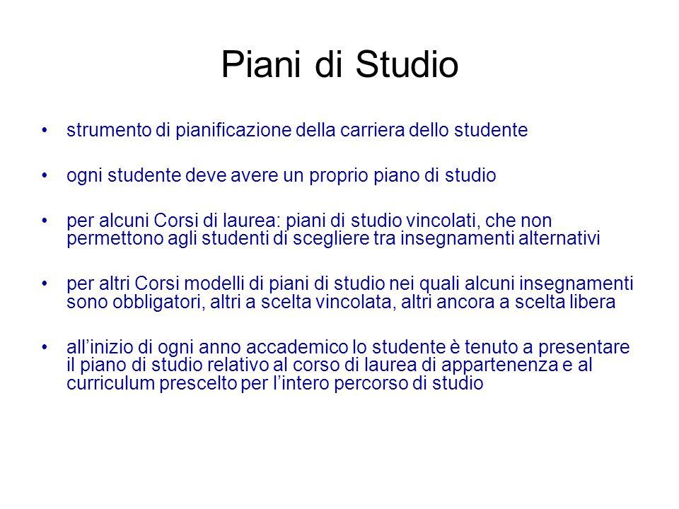 Piani di Studio strumento di pianificazione della carriera dello studente ogni studente deve avere un proprio piano di studio per alcuni Corsi di laur