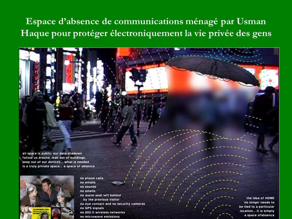 Espace dabsence de communications ménagé par Usman Haque pour protéger électroniquement la vie privée des gens