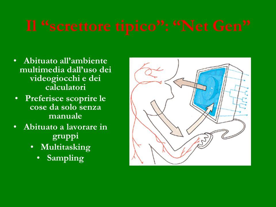 Il screttore tipico: Net Gen Abituato allambiente multimedia dalluso dei videogiocchi e dei calculatori Preferisce scoprire le cose da solo senza manuale Abituato a lavorare in gruppi Multitasking Sampling