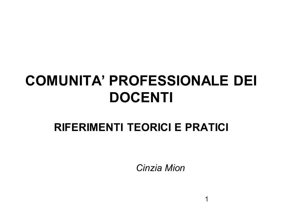 1 COMUNITA PROFESSIONALE DEI DOCENTI RIFERIMENTI TEORICI E PRATICI Cinzia Mion