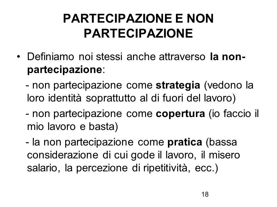18 PARTECIPAZIONE E NON PARTECIPAZIONE Definiamo noi stessi anche attraverso la non- partecipazione: - non partecipazione come strategia (vedono la lo