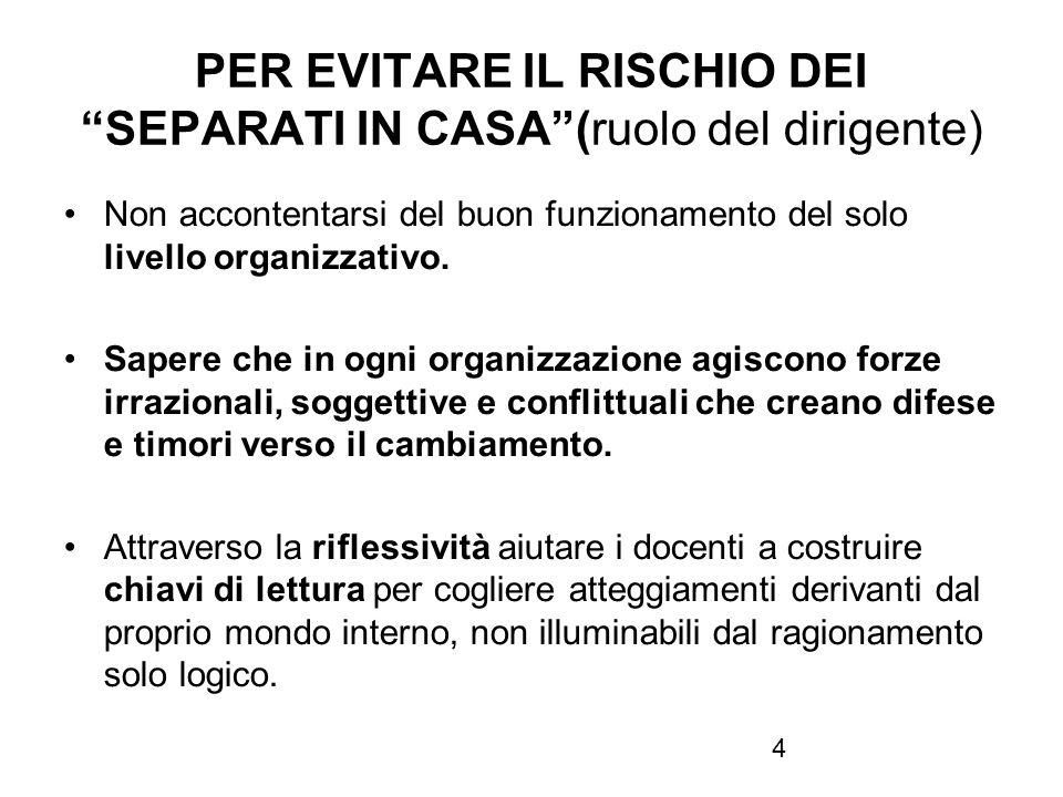 4 PER EVITARE IL RISCHIO DEI SEPARATI IN CASA(ruolo del dirigente) Non accontentarsi del buon funzionamento del solo livello organizzativo. Sapere che