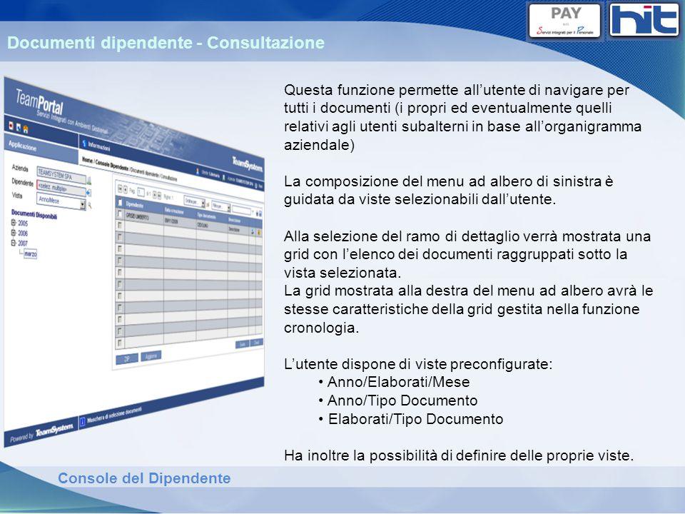 Console del Dipendente Documenti dipendente - Consultazione Questa funzione permette allutente di navigare per tutti i documenti (i propri ed eventual