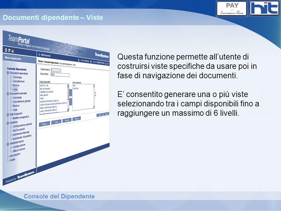 Console del Dipendente Documenti dipendente – Viste Questa funzione permette allutente di costruirsi viste specifiche da usare poi in fase di navigazi