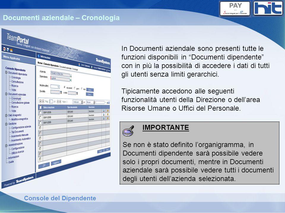 Console del Dipendente Documenti aziendale – Cronologia In Documenti aziendale sono presenti tutte le funzioni disponibili in Documenti dipendente con