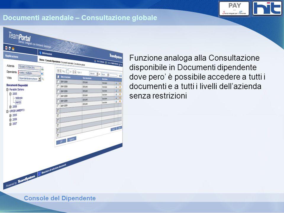Console del Dipendente Documenti aziendale – Consultazione globale Funzione analoga alla Consultazione disponibile in Documenti dipendente dove pero è