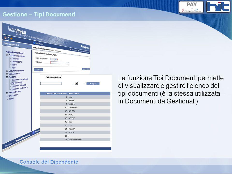 Console del Dipendente Gestione – Tipi Documenti La funzione Tipi Documenti permette di visualizzare e gestire lelenco dei tipi documenti (è la stessa
