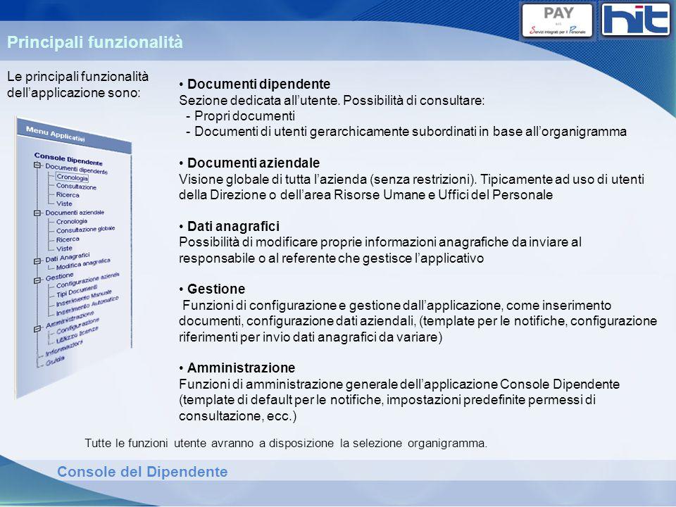 Console del Dipendente Tutte le funzioni utente avranno a disposizione la selezione organigramma. Principali funzionalità Documenti dipendente Sezione
