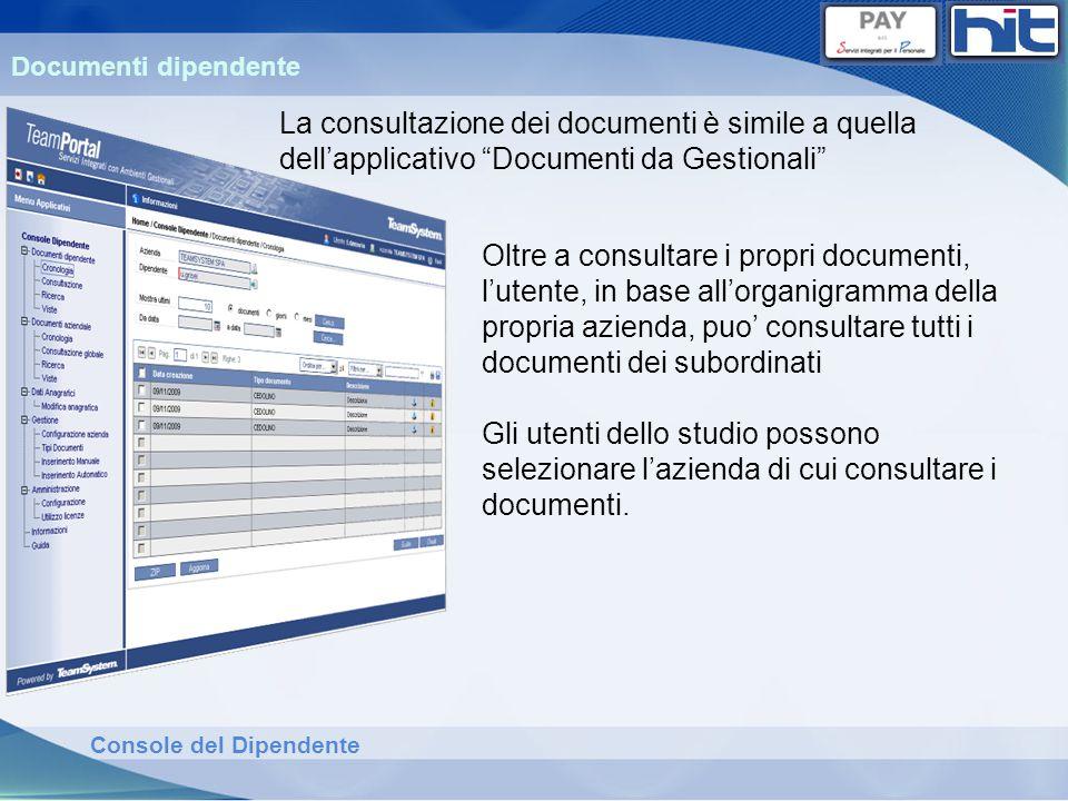 Console del Dipendente Documenti dipendente La consultazione dei documenti è simile a quella dellapplicativo Documenti da Gestionali Oltre a consultar