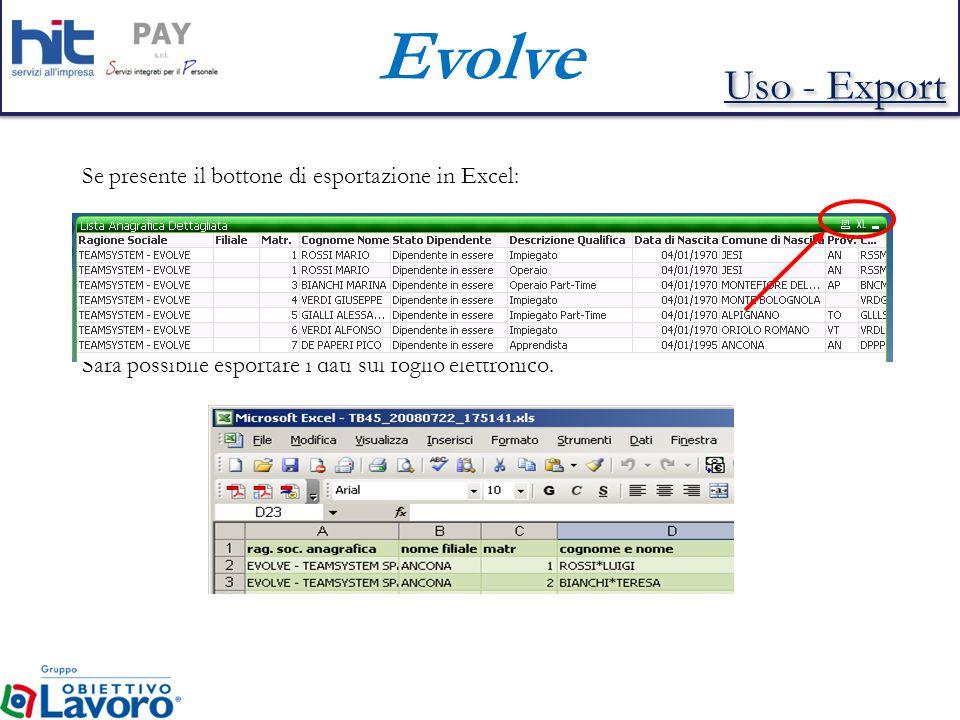 Evolve Se presente il bottone di esportazione in Excel: Sarà possibile esportare i dati sul foglio elettronico.