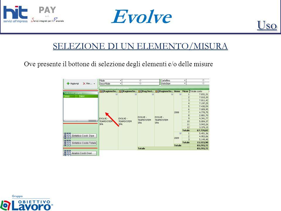 Evolve SELEZIONE DI UN ELEMENTO/MISURA Ove presente il bottone di selezione degli elementi e/o delle misure Uso