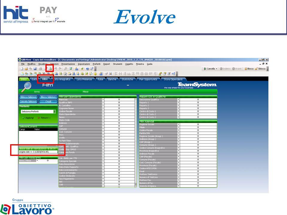 Evolve SELEZIONE DI UN GRAFICO La selezione potrà avvenire: Con il bottone sinistro del mouse, la selezione sarà ciclica, saranno cioè visualizzati in progressione i grafici previsti.