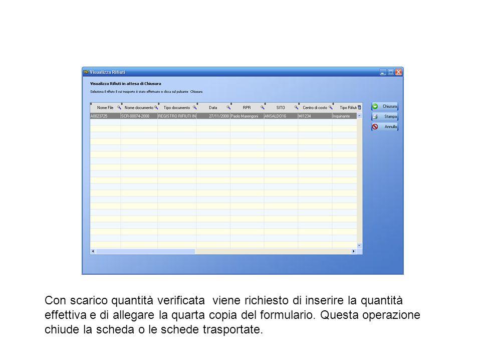 Con scarico quantità verificata viene richiesto di inserire la quantità effettiva e di allegare la quarta copia del formulario. Questa operazione chiu