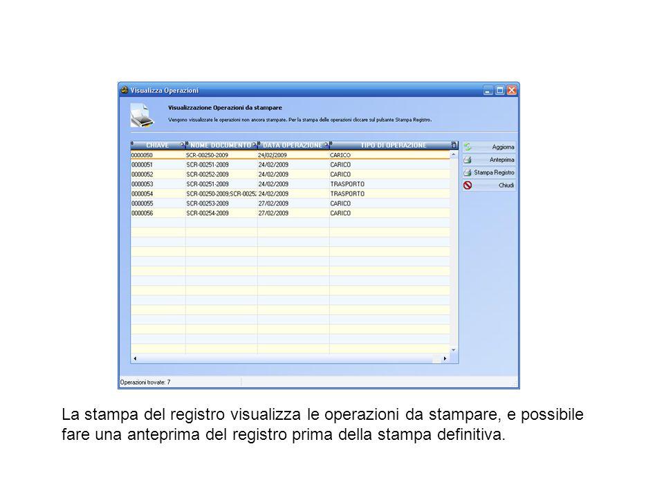 La stampa del registro visualizza le operazioni da stampare, e possibile fare una anteprima del registro prima della stampa definitiva.